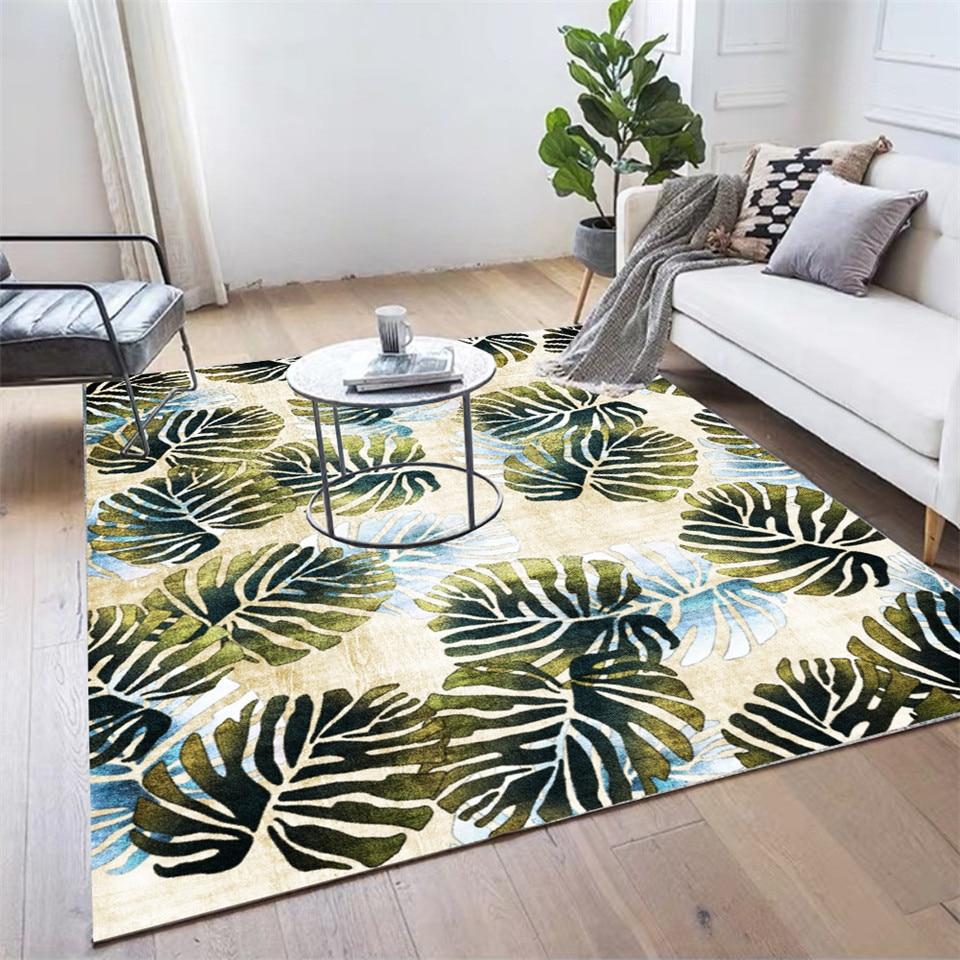 سجادة أوراق خضراء لغرفة النوم نبات استوائي مطبوع ممسحة للباب سجادة ضد الإنزلاق في المطبخ على سجادة أرضيات أريكة