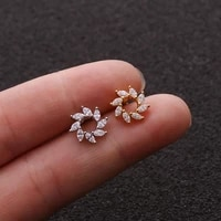 20g stainless steel 1pc stud earrings sunflower barbell helix cartilage tragus lobe ear piercing jewelry
