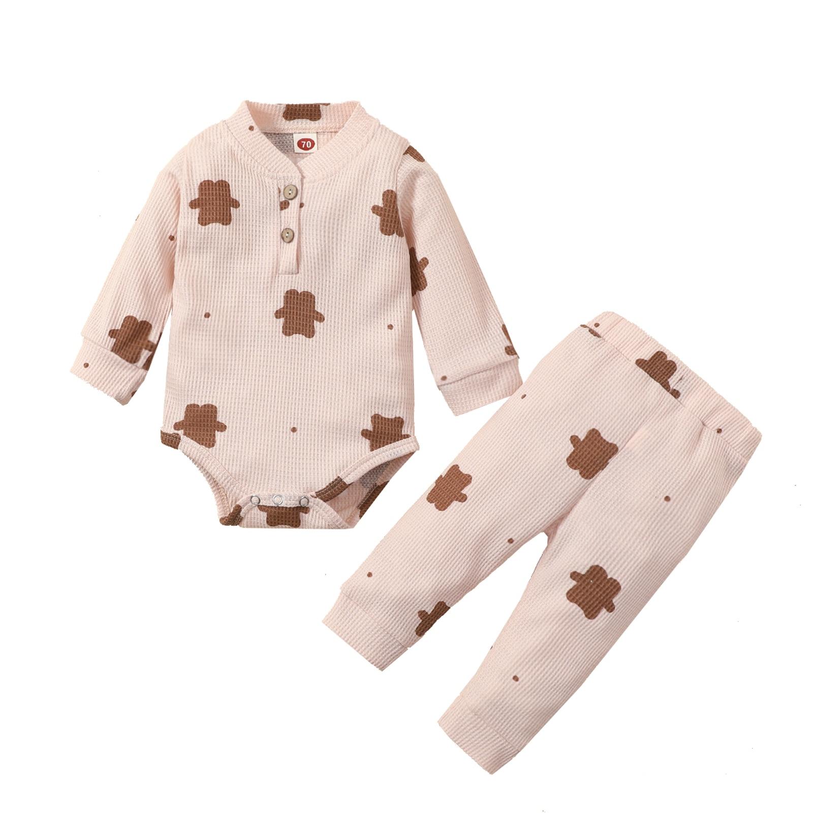 Детские осенние хлопковые наряды для новорожденных из 2 предметов с принтом медведя и пуговицами, боди с длинным рукавом и круглым вырезом, ...