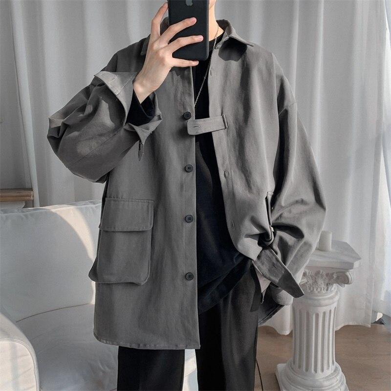 Куртка мужская однотонная с длинным рукавом, модная уличная одежда в Корейском стиле, повседневные куртки оверсайз, 2021