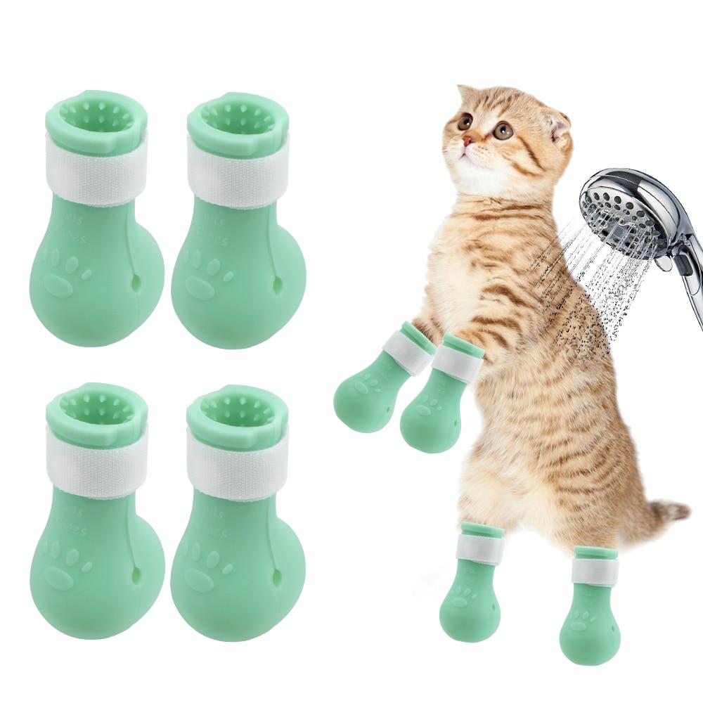 Anti-Scratch Cut Nails Bath Bite Washing Cat Feet Set Washing Anti-Scratch Paw Protector Boots Bath Shoes Pet Supplies