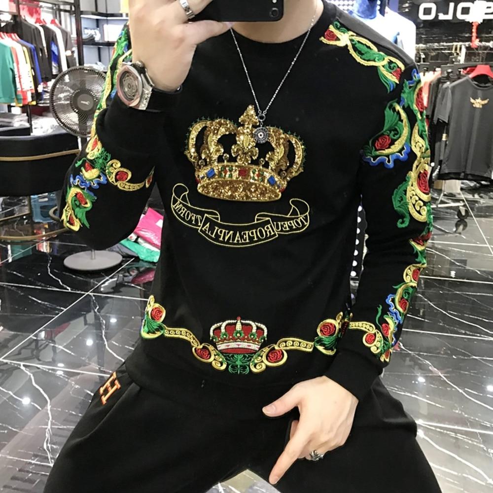 AliExpress - Luxury Gold Black Embroidery Sequin Crown Sweatshirts Men Sudadera Hombre Baroque Club Outwear Sweat Homme Harajuku Sweatshirt