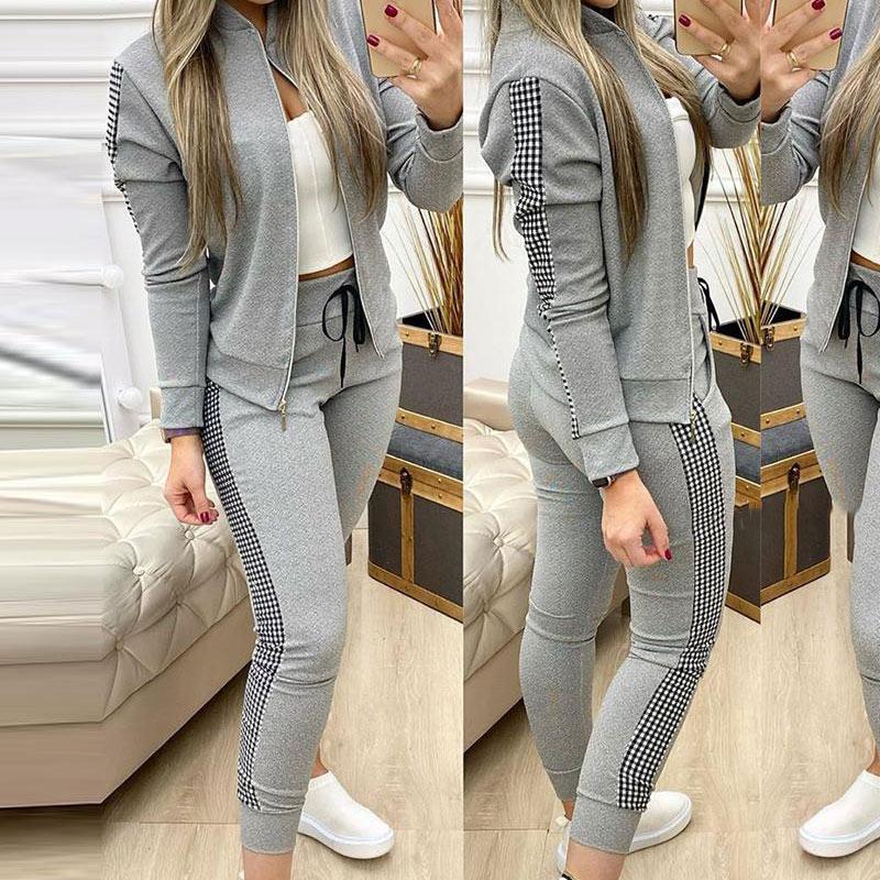 Tracksuits Women's Sport Suits 2021 Training Winter Clothing Autumn Female Jacket Drawstring Pants Lady 2 piece Sets Plaid