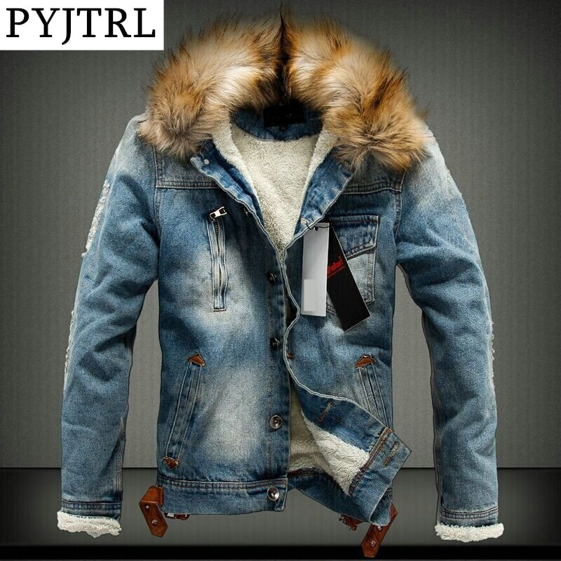 PYJTRL Men's Winter Thick Fleece Jacket