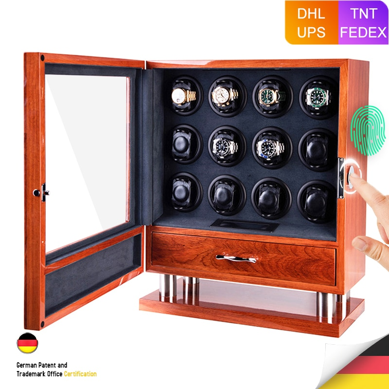 Fingerprint Unlock Automatic Watch Winder Solid Rosewood Quiet Smart Remote Control Touch Screen with Drawer 12 Wood Watch Box
