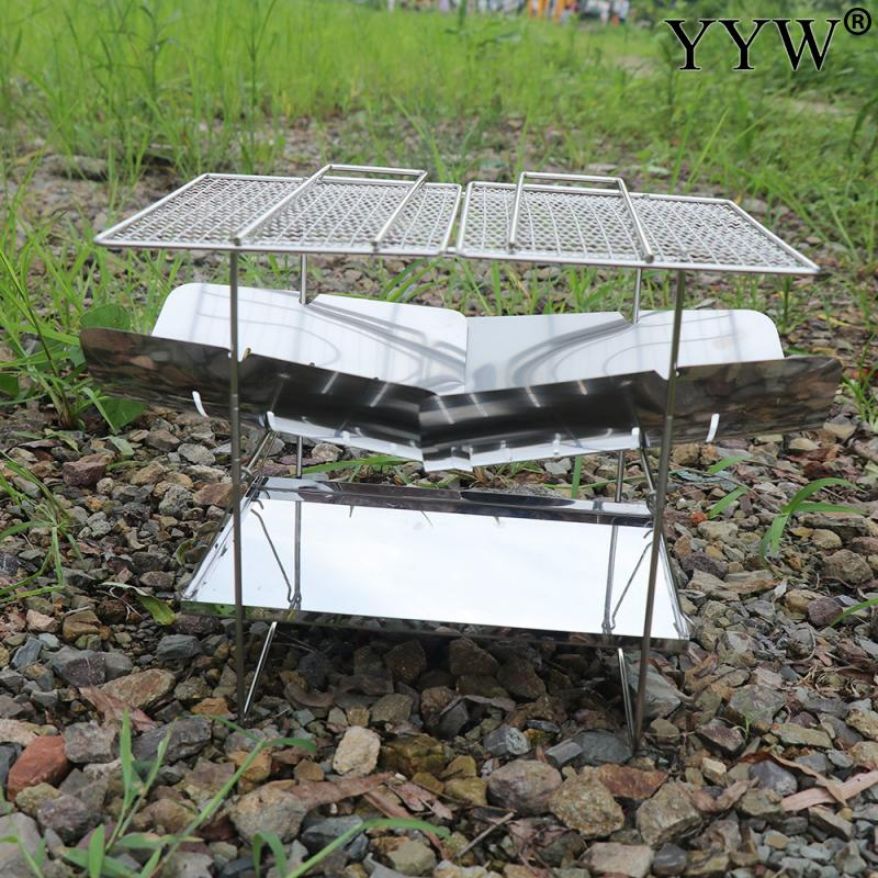 Ultralight Outdoor Portable Wood Stove Burner Multifunctional Folding Barbecue Charcoal Stove Hiking Make A Fire Fried Food