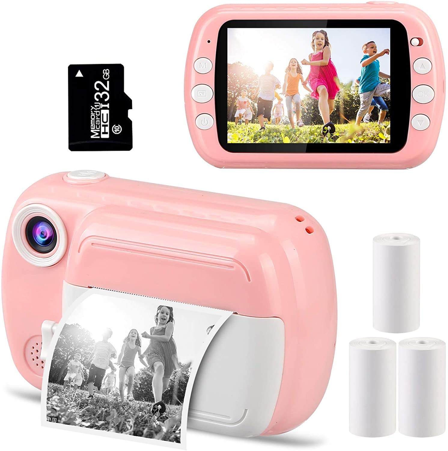 VJJB Instant Camera for Kids, 3.5-inch Screen Portable Instant Print Camera with 1080p HD Video Kids Camera Best Toy Gifts for
