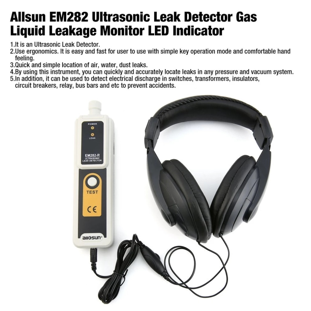 متوفر في المخزون Allsun EM282 كاشف تسرب بالموجات فوق الصوتية 40KHz الارسال كشف موثوق تسرب الغاز السائل رصد مؤشر LED