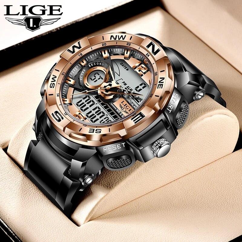 2021 LIGE Sport Men Quartz Digital Watch Creative Diving Watches Men Waterproof Alarm Watch Dual Dis