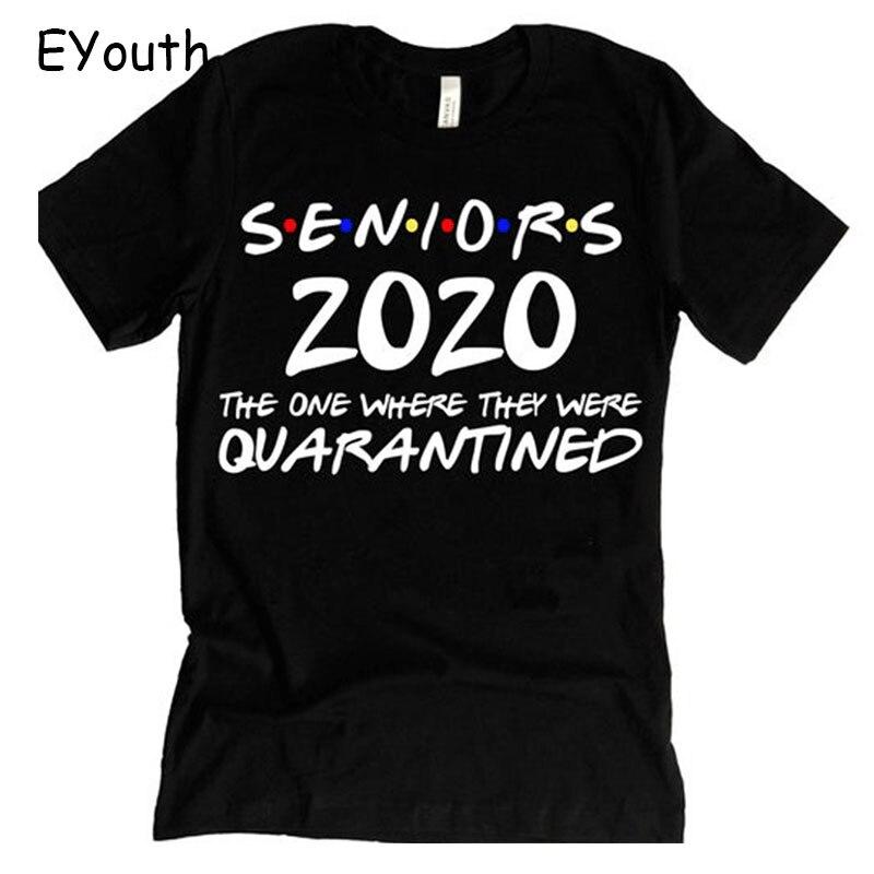 Seniors Quarantine Graduation 2020 Funny Letter Print Unisex T-shirt  Short Sleeve Sweatshirt Gift Top Tee for Women and Man