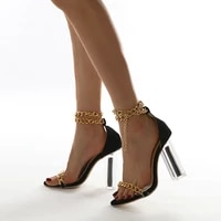 metal decorative high heels casual fashion round head crystal square heel solid office workplace high heel sandals
