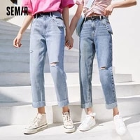 semir jeans women comfortable straight 2021 summer new fashion ripped trend belt cotton cropped demin pants