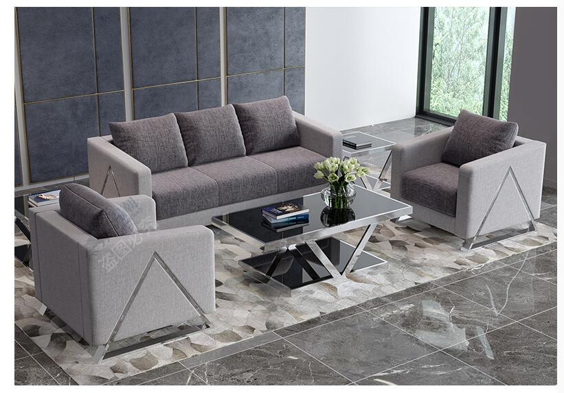 التعاقد الحديثة القماش الفن صغيرة التفاوض 4S الملابس متجر الأثاث ثلاثة مكتب أريكة طاولة الشاي مزيج