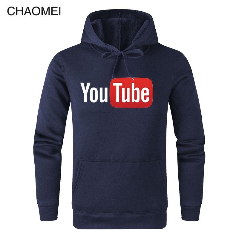 2019 Otoño Invierno sudaderas con capucha masculinas divertidas Youtube sudaderas impresas hombres You Tube Hoodie hombres mujeres Streetwear cálido Fleece Hoody C17