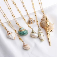 boho fashion ladies cowrie sea shell necklace summer beach conch shell pendant necklace women jewelry gifts