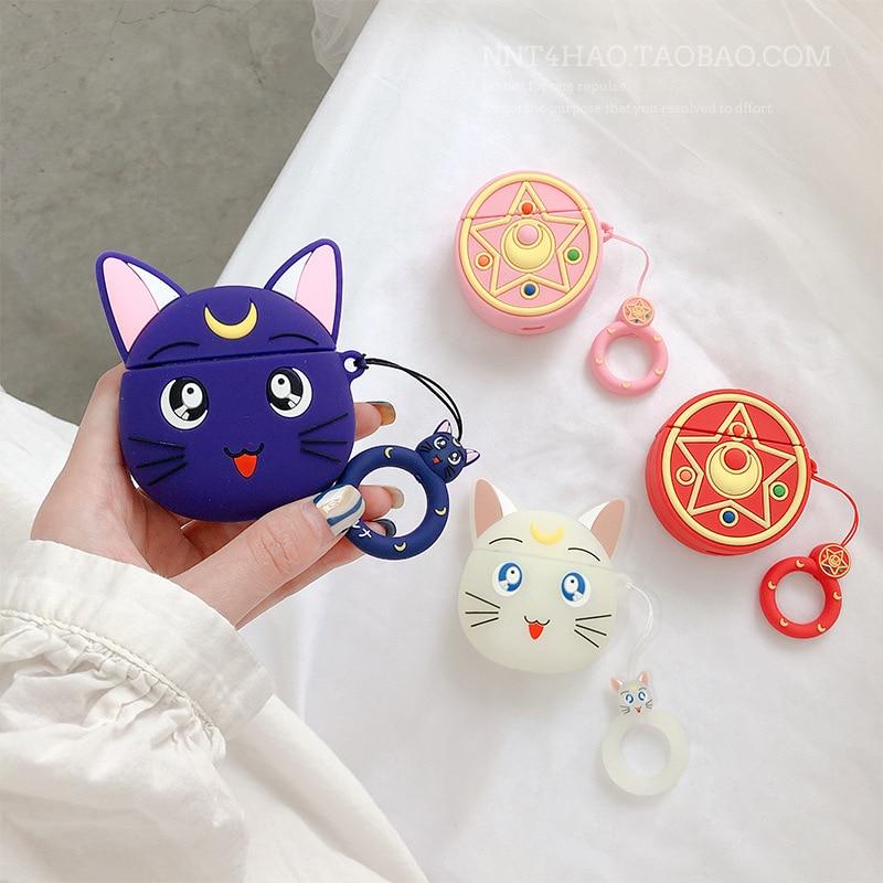 Anime sailor moon cosplay shapeshift adereços apple airpods fones de ouvido casos capa protetora