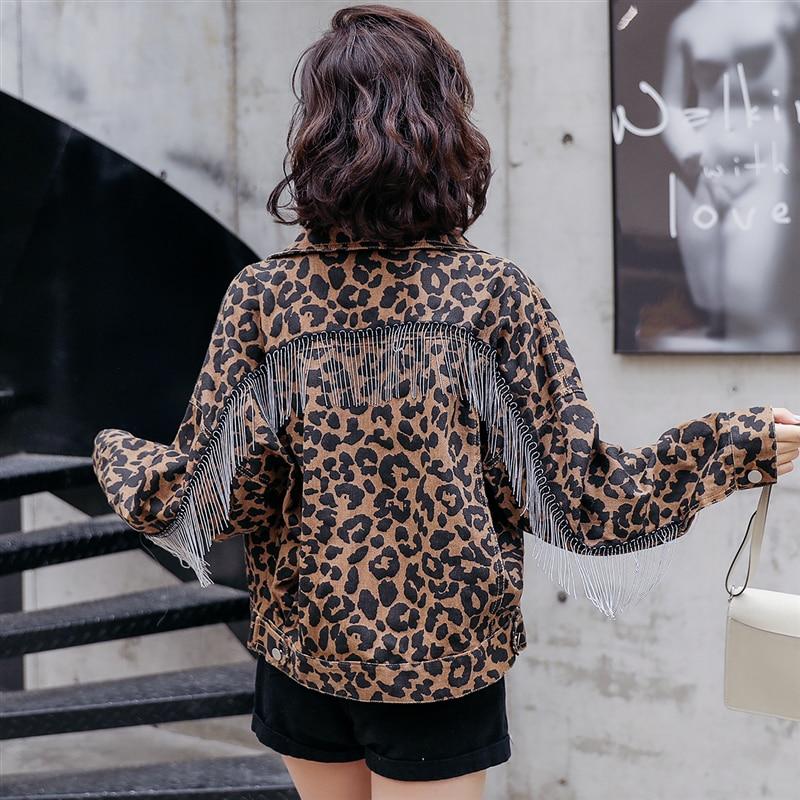 Denim Jacket Women Vintage Leopard Print Fashion Tassel Bat Long Sleeve Bomber Jackets Casual Loose Short Denim Oversized Jacket