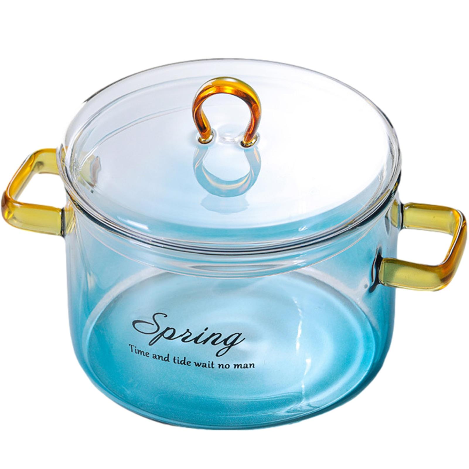 وعاء زجاجي مع غطاء مقاوم للحرارة وعاء خزفي طبق من الزجاج المعكرونة إناء للحساء حليب الطفل سلامة الغذاء