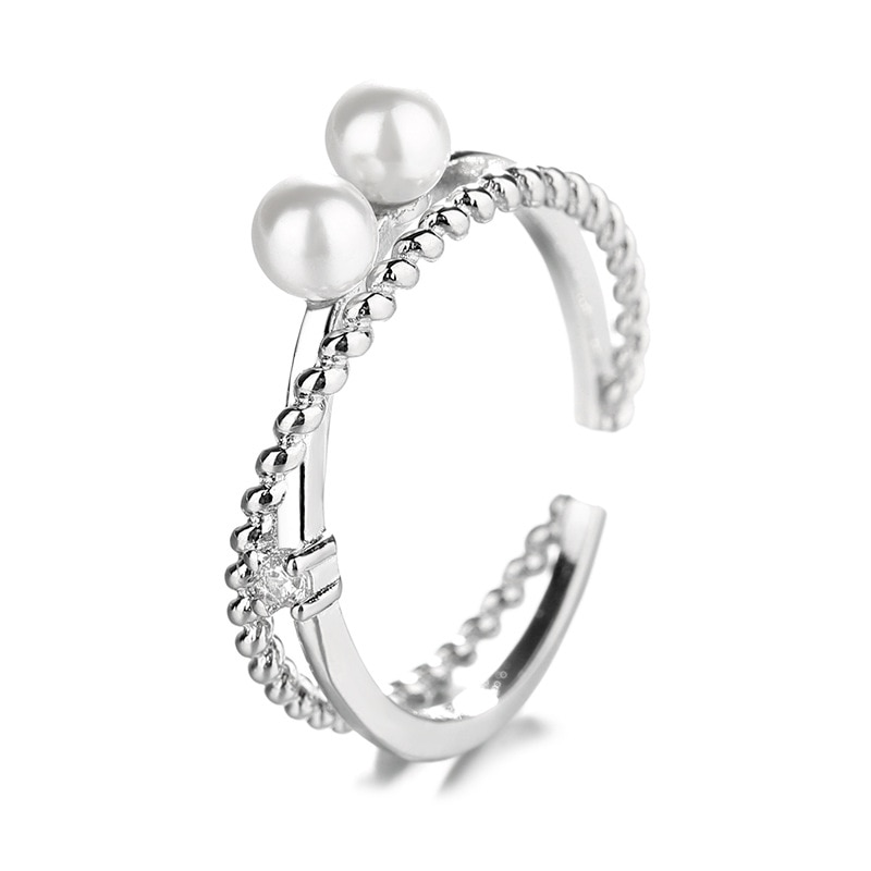 Silver Color Double-deck Imitation Pearl Ring Cross Line Zircon Rings For Women Girl Adjustable Size Fashion Jewelry  - buy with discount