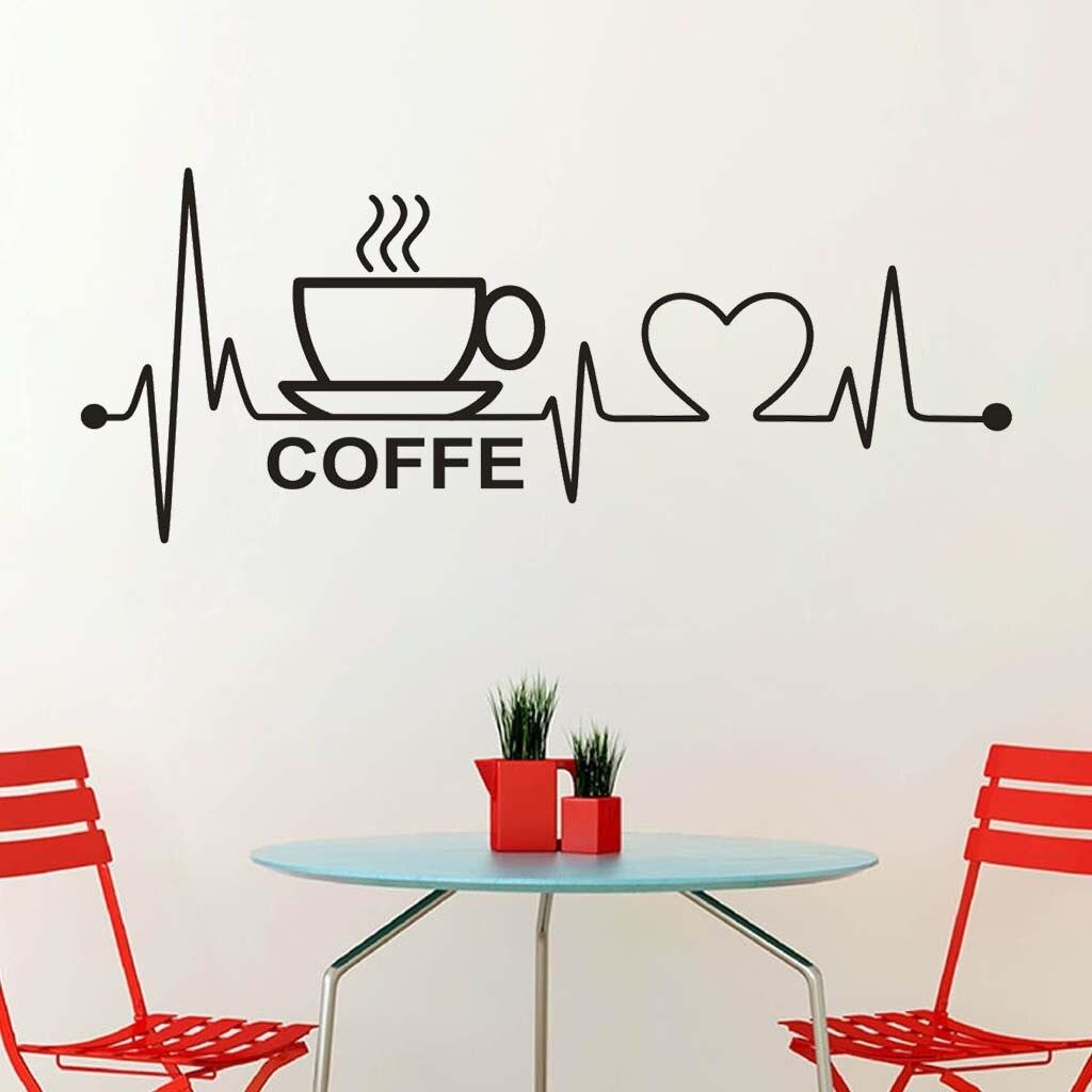 5095 café heartbeat 57X23CM pared creativa móvil fijado con decoración de ventanas de pared