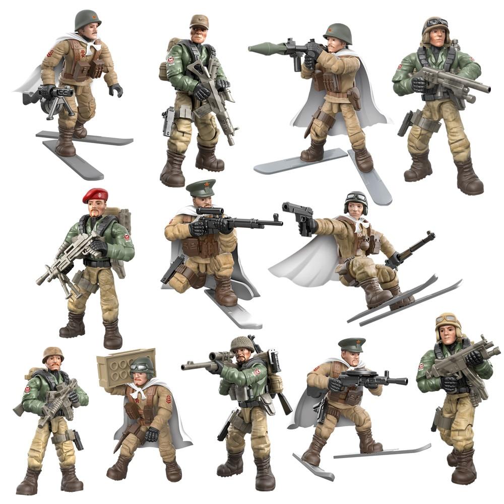 12 pçs guerra mundial 2 soldados ww2 cidade polícia militar swat exército figuras de ação blocos de construção tijolos iluminação crianças brinquedos