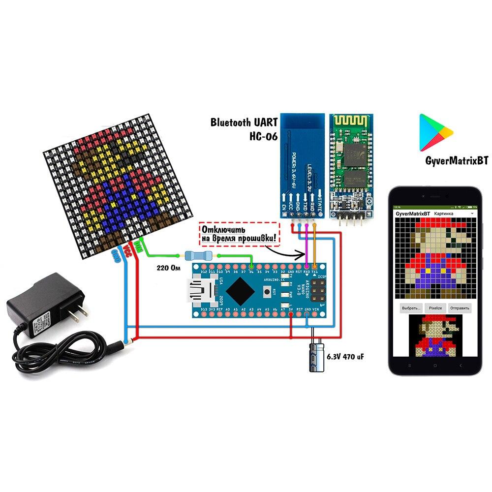 WS2812B 16x16 matriz Bluetooth gyverlamp kit;RGB pixel accesible GyverMatrixBT GyverMatrixOS hacer lo mismo fresco LED de matriz