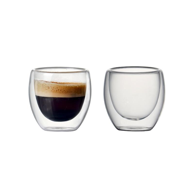 Juego de tazas de café de vidrio aislado de doble pared de 80ml para beber tazas de té Starbucks tazas de café expreso