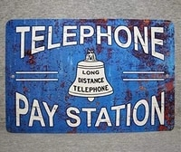 metal sign telephone pay station public coin vintage replica phone booth prop rotary push button garage plaque aluminum