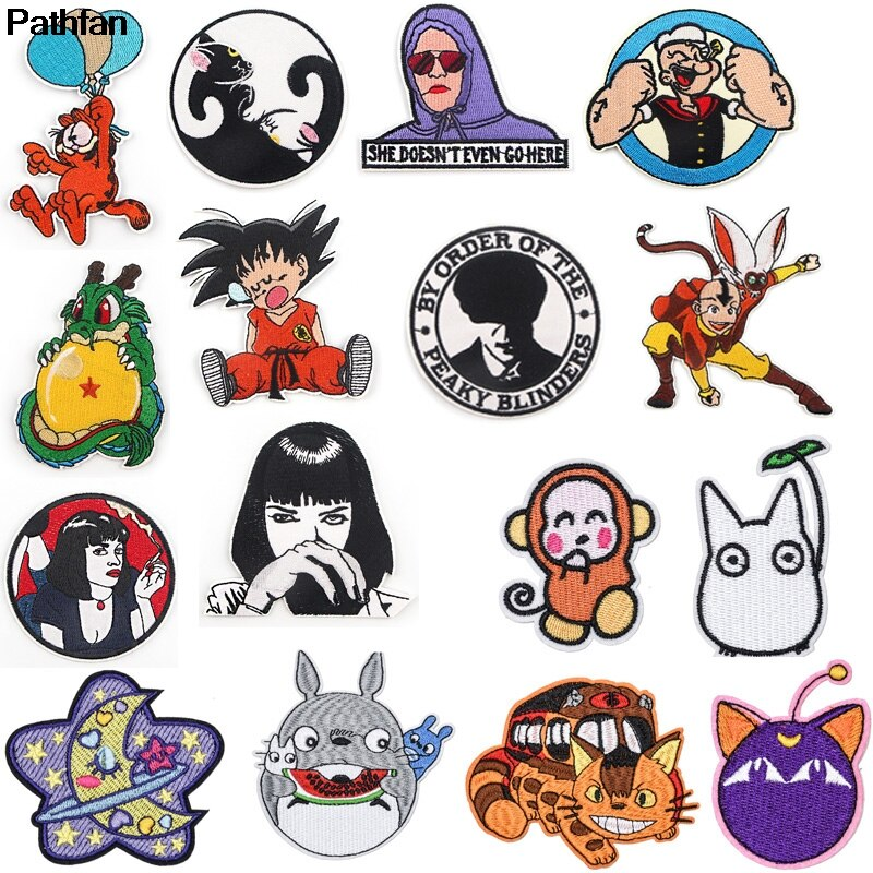 A3846 parches DIY de dibujos animados de gato mono insignias bordado Anime parche apliques suministros de costura de planchado para ropa parches decorativos