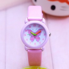 New Arrival Fashion Leather Quartz Butterfly Cartoon WristWatch Clock Student Kids Watch Horlog Relo
