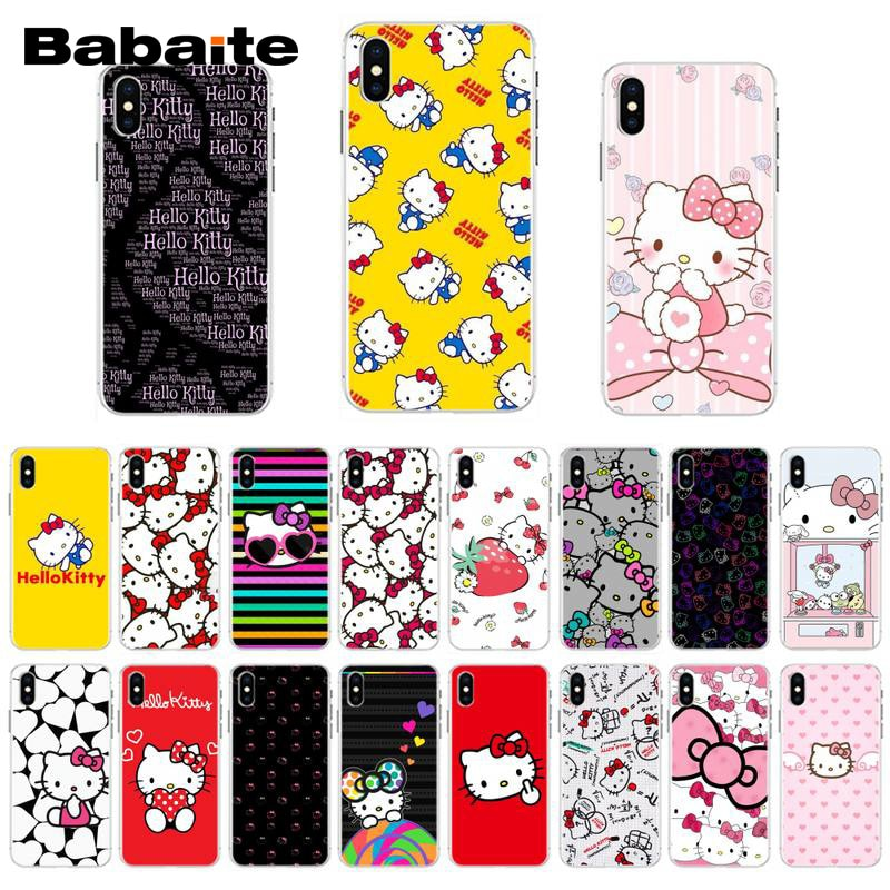 Carcasa Babaite bonita Hello Kitty TPU negra para iPhone 11 11Pro XS MAX XR 7 8 6 Plus 5 5S SE