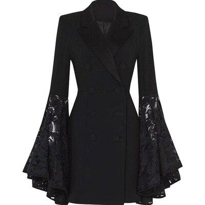 خريف جديد إمرأة أسود أزياء من الدانتل خياطة صغيرة دعوى سترة المرأة طويلة الترفيه الأعمال السترة المرأة بليزر المرأة معطف