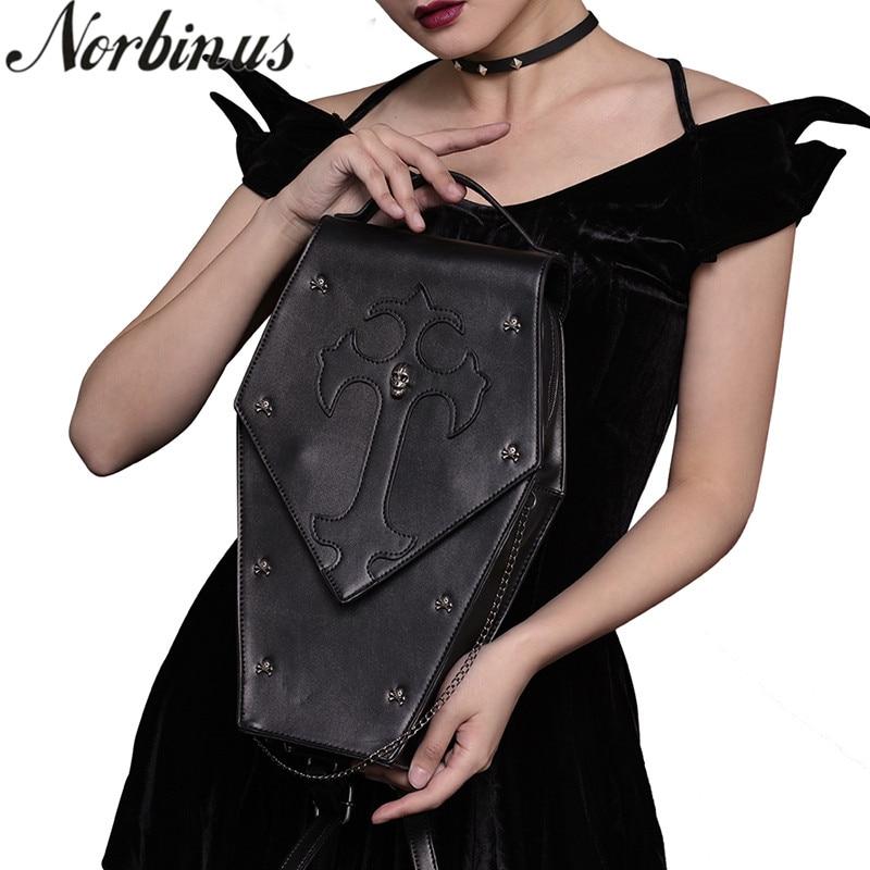Norbinus стимпанк сумки на плечо винтажные женские сумка с черепом Готическая сумка-мессенджер через плечо женская сумка с заклепками с верхне...