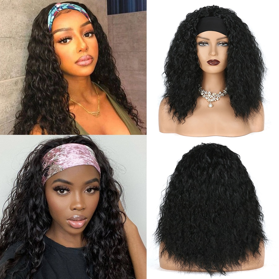 Synthetic Headband Wig Afro Kinky Curly Wig With Scarf Heat Resistant Fiber Hair Head Band Wigs For Women African Americans