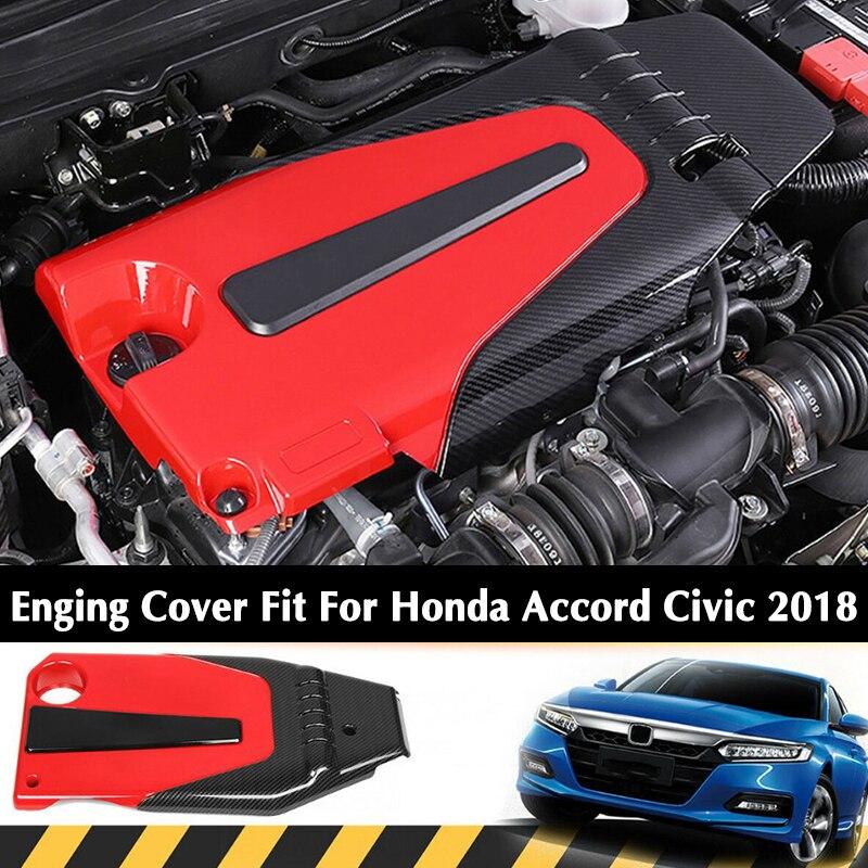 Dwcx estilo de fibra carbono capa do motor carro capô capa apto para honda civic accord 1.5l 2018