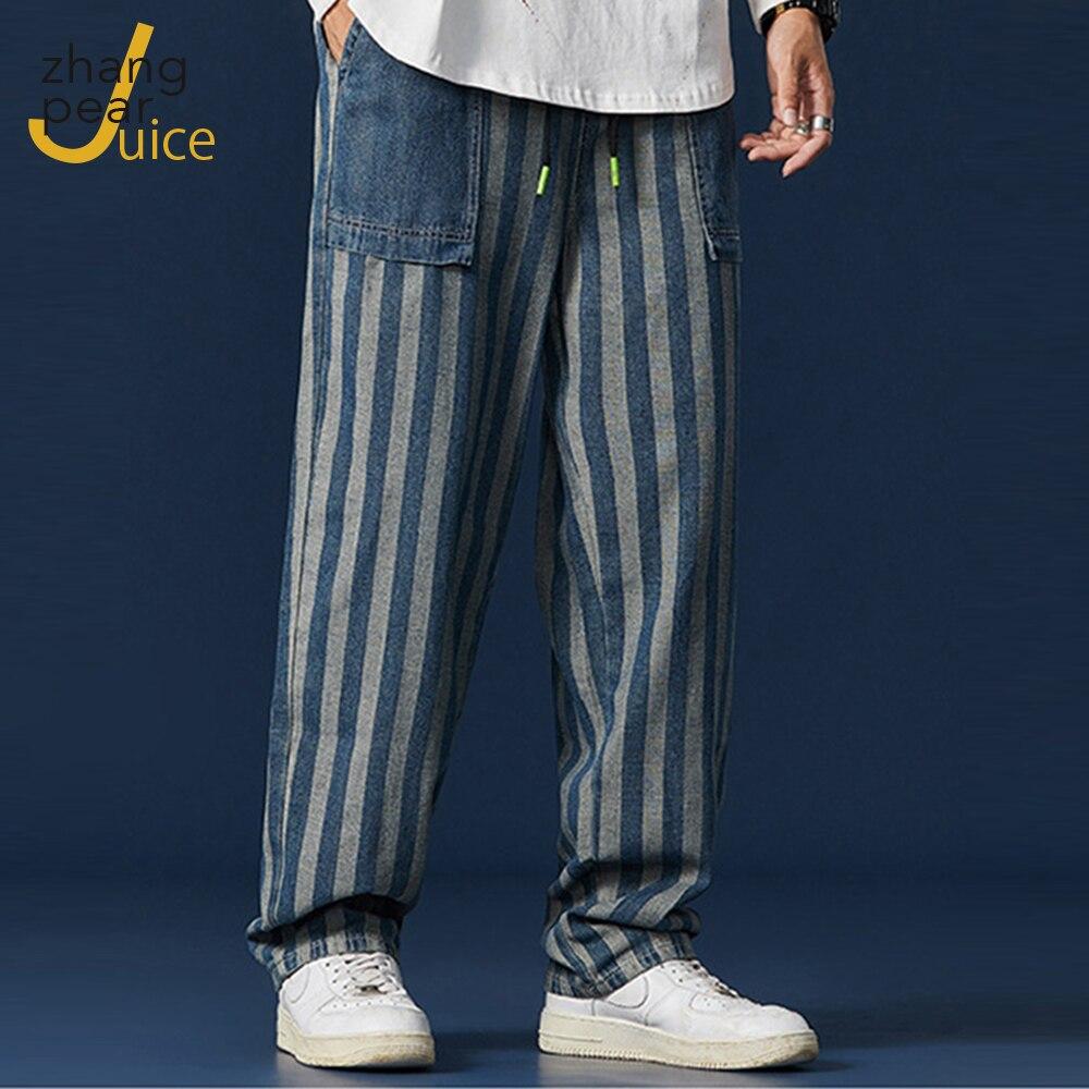 Мужские винтажные джинсы в полоску, потертые свободные джинсы с карманами, стильные рваные джинсы с карманами