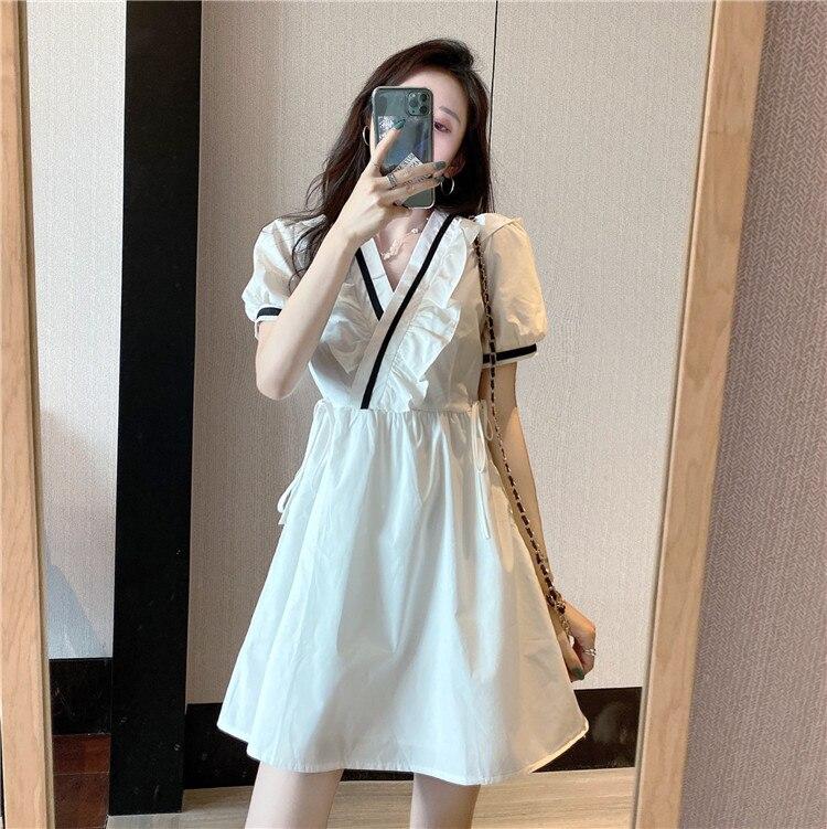 Сделать фирма предлагает темперамент falbala v-образным вырезом приталенное Показать Тонкий сладкий пузырь длинное платье с коротким рукавом