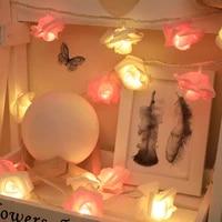 2 5m led rose flower string lights foam rose flower garland fairy lights for valentines day wedding garden xmas decor lantern
