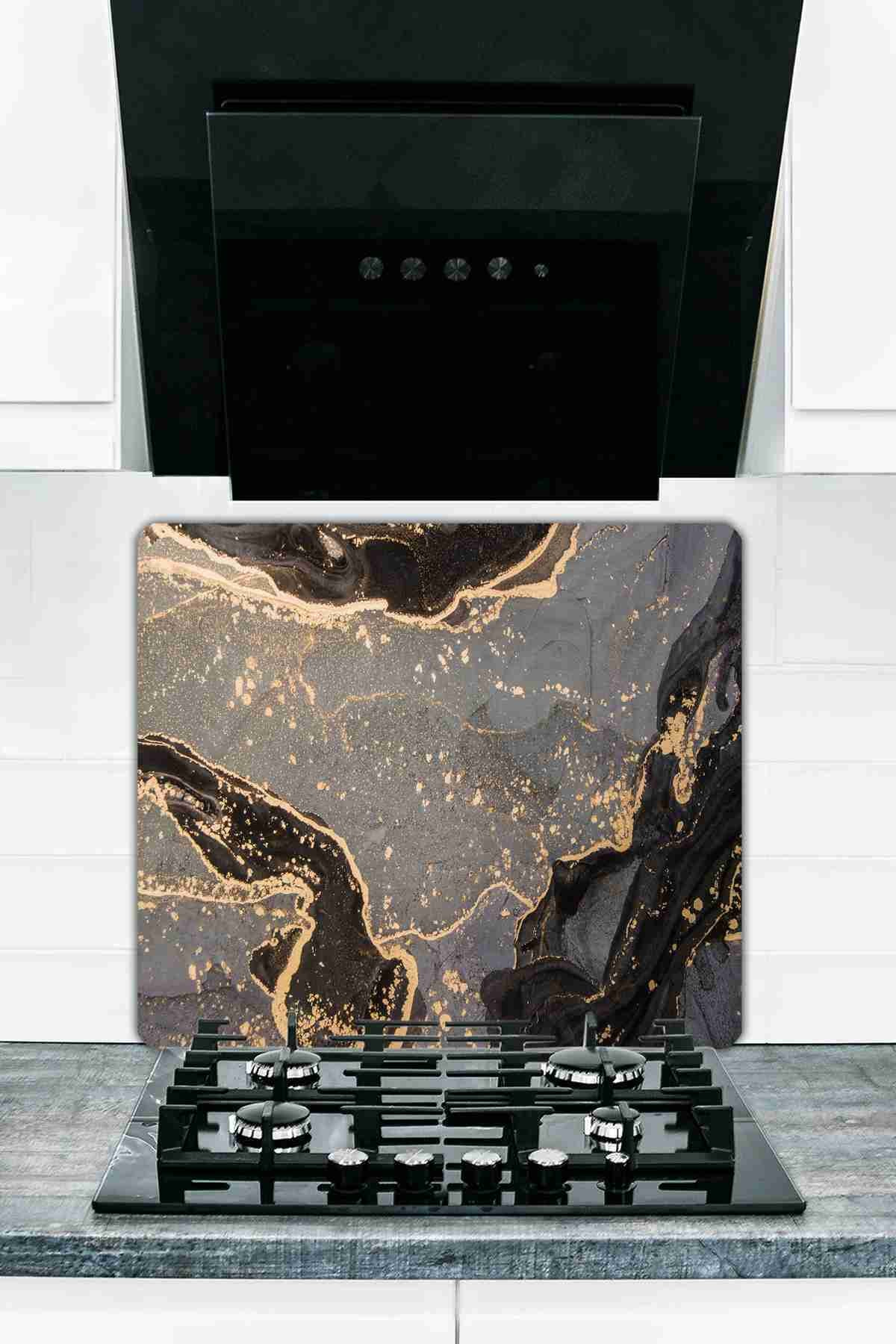 Black gilded Marble Looking Glass Cooker Protective And Glass Cutting Board 50X56