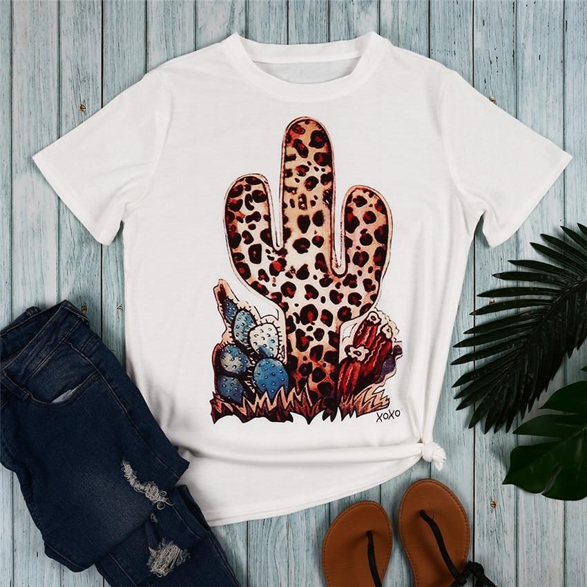 Leopard Kaktus Print T Shirt Frauen Weiß T-shirt 2019 Tops T Mode Kurzarm T Shirts Frauen Kleidung camiseta mujer