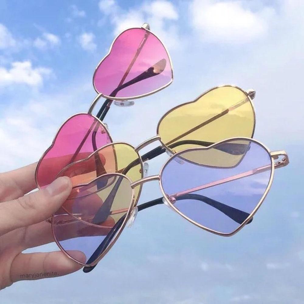 Womens Fashion Love Heart Shape Sunglasses Clear Lens Colorful Sun Glasses Female Festival Travel Fa