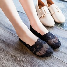 Ankle Socks Women's Silicone Non-Slip Spring Summer Ultra-Thin Lace Socks Cotton Socks Low-Cut Low-T