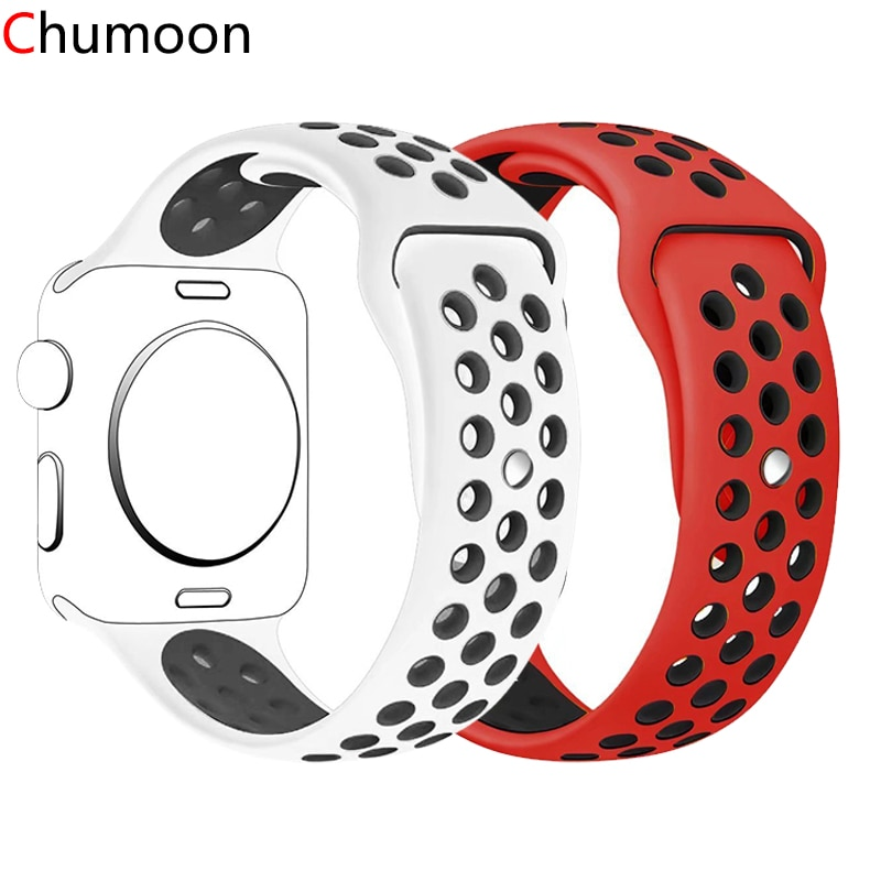 strap for apple watch 4 band 44mm 40mm iwatch 4 bands 40 mm 38mm sport silicone bracelet watchband for apple watch 5 3 2 1 42mm Silicone Strap For Apple Watch Band 44mm 40mm 42mm 38mm 44 mm watchband Breathable bracelet Apple watch 6 Strap iWatch 5 4 3 se
