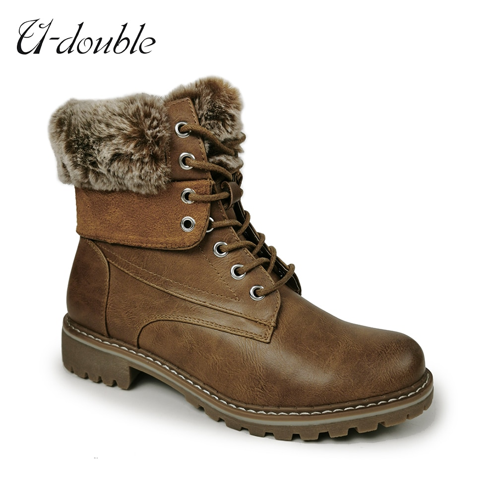 U-DOUBLE 2020 النساء أحذية الشتاء الثلوج الأحذية الإناث أحذية كاجوال منصة الدفء الشتاء الأحذية مع سميكة الفراء دراجة نارية الأحذية
