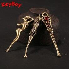 Design créatif 6 Styles cuivre mutifonctionnel oreille Pick cuillère porte-clés pendentifs Vintage en laiton femmes nues poisson porte-clés bijoux
