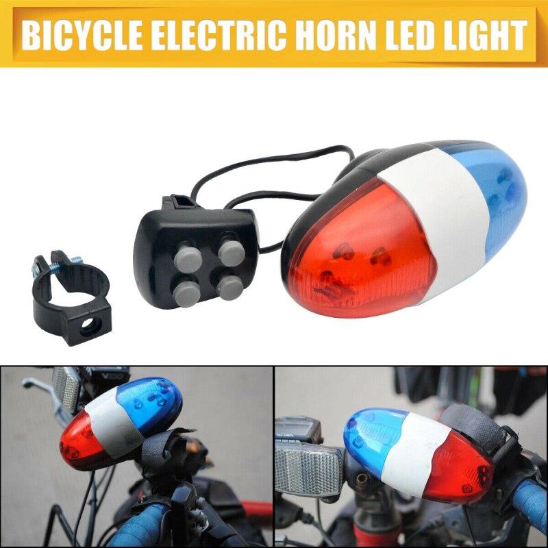 2020 bicicleta policía luz bicicleta timbre 6 LED 4 tonos bicicleta cuerno bicicleta llamada LED bicicleta policía luz impermeable luz trasera delantera MTB