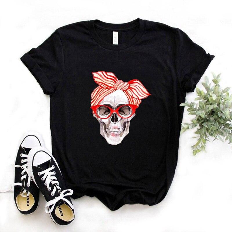 Bandana estampado de calavera Camiseta de algodón Casual divertida camiseta regalo 90s Lady Yong Girl Drop Ship 6 colores PM-9832