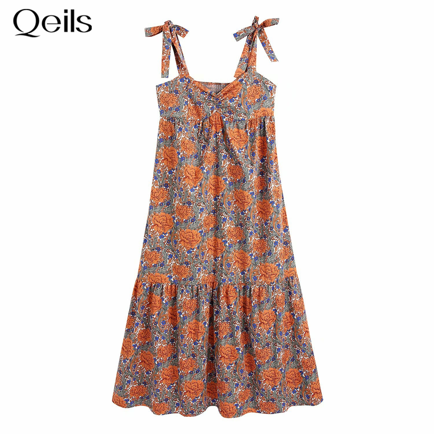 Qeils Mini Long Sleeve Dress Women Sexy Print Single Breasted Wrinkle Casual Women Dress Summer 2021