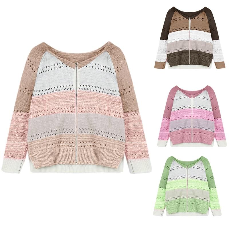 Women Long Sleeve Sweater Coat Color Block Stripe Zipper Hollow Out Knit Cardign enlarge