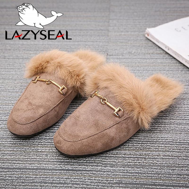 LazySeal Fur Women Slides Ladies Black Outdoor Female Shoes Slides Summer Winter 100% Real Rabbit Hair Designer Spring Footwear